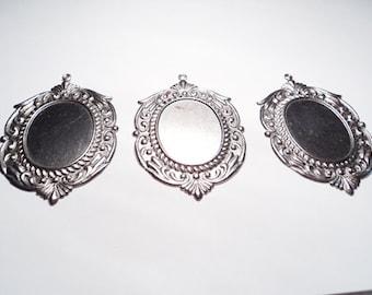 3 pcs - Large Ornate Pendants with setting - m214