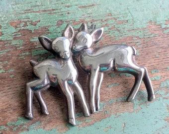 Vintage Sterling Silver Brooch two Baby Deer fawn Cute