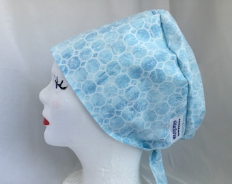 Scrub Hat Pixie Tie Back Style Baby Blue with White Design