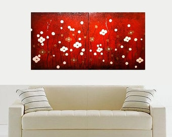 ORIGINAL Modern Home Decor Canvas Art Painting Red Peach Color Flowers Nature Landscape 2 Piece Set Antique Crackle Look Made To Order