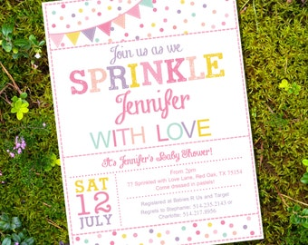 Sprinkle Baby Shower Invitation in Whites and Pinks - Girl Baby Shower Invitation - Instant Download and Edit with Adobe Reader
