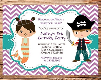 Mermaid or Pirate Birthday Party Invitation, GIRL, BOY, Little Mermaid, Pirate Birthday Party, Teal, Chevron Stripes, Printable, 100