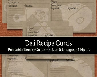 "Deli Foods Recipe Cards - Set of 5 Designs - 5"" x 7"" Front and Back + 1 Blank"