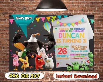 Angry Bird Invitation, Angry Bird Birthday, Angry Bird Party, Angry Bird Card, Angry Bird Printable, Angry Bird, Angry, Bird, Invitations