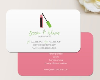 Makeup Artist Business Card / Calling Card / Mommy Card / Contact Card - Cosmetologist Calling Cards, Makeup Business Cards