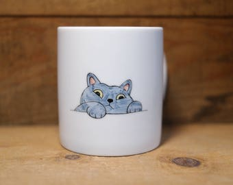 Hand painted animal mug cup - Cute  mug cup -Cat  mug cup 3
