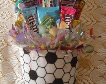 """Easter """"Soccer"""" Basket Candy Arrangement"""