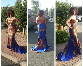 African Print Mermaid Gown