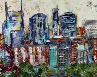 "Nashville skyline canvas, painting, art, Sunset Nashville 3/4"" thick canvas"