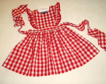 Red Gingham Pinafore Dress or Jumper with flutter sleeves, with or without rick rack.  Made to Order in sizes 12 months/1T to 5.