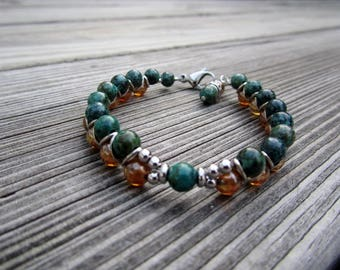 African Turquoise and Amber Glass ZigZag Bracelet Natural Stone Jewelry Handmade