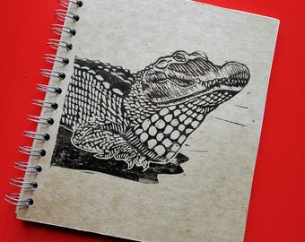 Large Block Print Recycled Blank Book - Crocodile