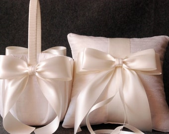 Wedding Ring Pillow and Flower Girl Basket Set - Light Ivory Silk with Satin Bows - Emily