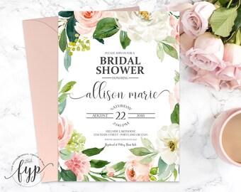 Floral Bridal Shower Invitation Wreath