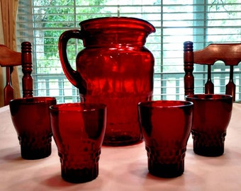 Ruby Red Juice Glass and Pitcher Set in the Windsor Pattern by Anchor Hocking Glass