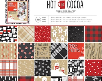 "American Crafts ""Hot Cocoa"", 12X12 Paper Pad, 48 Single-Sided Sheets, 12"" X 12"" Holiday/Christmas/Winter Paper"