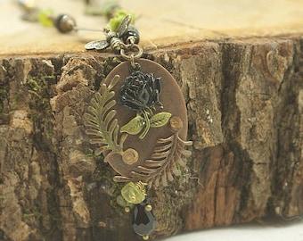 Black rose metal stamping Vintaj necklace