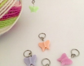 Pretty Butterfly Knitting Stitch Markers. Pack of 5.