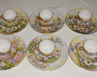 Hand Painted Floral China Thomas and Czech Porcelain Dinnerware 18 Pieces Includes 6 Sets of Plate Cup and Saucer