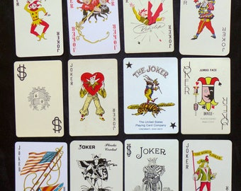 Collection of Twelve (12) Vintage Playing Cards/Swap Cards all JOKERS/CLOWNS/JESTERS [Lot A13] - All different!