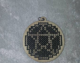 Cross Stitch Pentacle Wood Charm