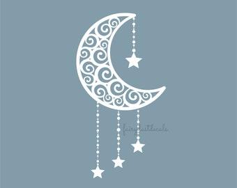 Moon Decal, crescent moon, vinyl wall decal, moon and stars, nursery room decals, moon wall art, vinyl moon sticker, star and moon, wall art