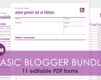 Blogging Planner: 11 Editable Pages of Blog Post Checklist PDF Files - Printer Friendly and Expertly Designed
