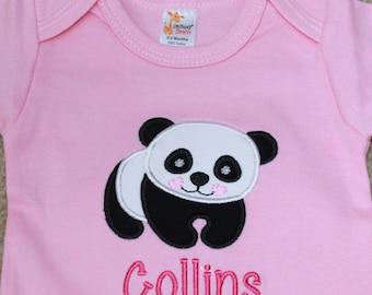 Personalized Applique Baby Onepiece Bodysuit - Panda