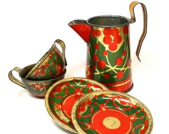 des années 1900 tin Toy Tea Set, fleurs de l'Art Nouveau en rouge, vert & or, 5 pièces