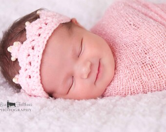 Baby girl, Baby headband, Crochet baby crown, Newborn crown headband, Baby girl headband, Newborn photo prop, Baby shower gift, girl crown