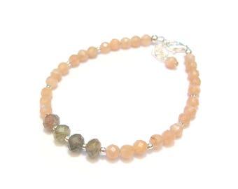 Moonstone and Labradorite - gemstone bracelet and 925