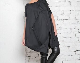 Black Caftan Dress / Extravagant Long Dress / Sleeveless Caftan / Black Tunic Dress / Slit Dress / Cape Tunic / Cape Maxi Dress