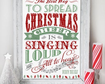 Christmas Cheer Buddy Elf Poster - INSTANT DOWNLOAD - Art Print Quote Sign, Poster Printable Decoration by Sassaby Parties