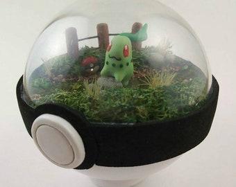 Pokemon Terrarium Pokedome Slowpoke Chikorita Marshadow Mimikyu Collectible Figurine Pokeball Custom Commission Gift