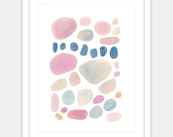 Digital print of pink and blue grey assorted river rocks in watercolor for minimalist, bedroom, or nursery decor