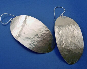 GIANT OVAL FEATHER Earrings - Artisan Jewelry Handmade in Sterling Silver - Big Bold Dangly Earrings