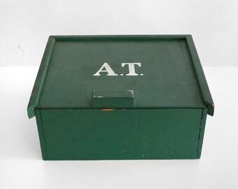primitive box, folk art box , wooden box, hand-made box, vintage box,