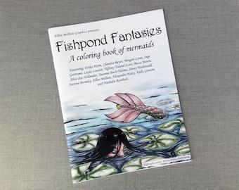 Coloring book: Fishpond Fantasies - a coloring book of mermaids adult coloring