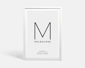 Digital print Digital poster download Melbourne art poster Latitude longitude GPS Coordinates sign Instant download Melbourne art print gift