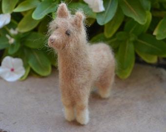 Handmade Needle Felted Alpaca with Real Alpaca Wool