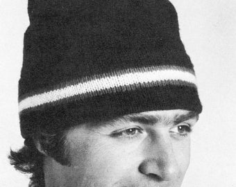 Mens Hat Winter Cap to Knit, 1970s Vintage Knitting Pattern, PDF INSTANT Digital DOWNLOAD - Easy to Knit on Straight Needles, Make Easy Gift