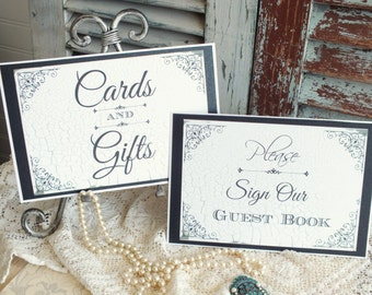 Vintage Chipped Paint Wedding Signs Set of 2 Handmade by avintageobsession on etsy
