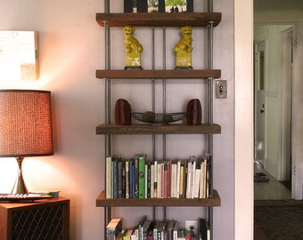 bookcase from reclaimed old growth wood and recycled content steel - bookshelf - shelving - modern industrial