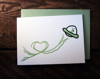 Letterpress Printed UFO Love Card - single