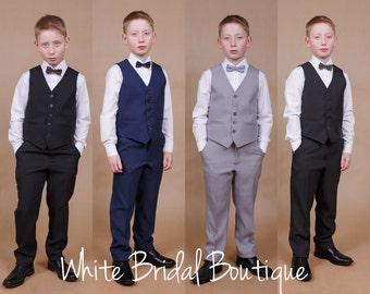 Ring bearer outfit Wedding boy suit Boy vest Teeneger suit Confirmation Wedding navy outfit Communion suit Formal boy suit Graduate suit