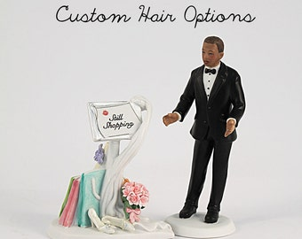 Personalized Wedding Cake Topper - Dark Skin Tone - Still Shopping Message Board and Surprised Groom - Funny Wedding Cake Toppers - Wedding