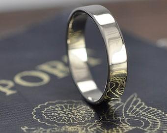 White Gold Wedding Ring, Handmade 18K Palladium White Gold 4mm Band, Sea Babe Jewelry
