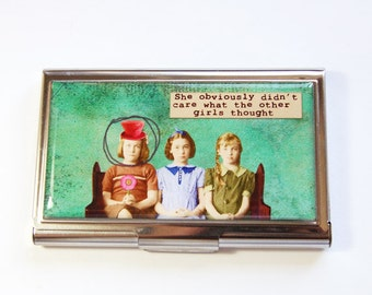 Business Card Case, Card case, business card holder, Case, Green Case, Funny Card Case, Humor (2958)