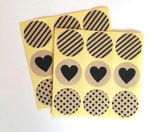 18 kraft paper envelope seal sticker - label - favor sticker - wedding round thank you sticker - wedding favors - envelope seals - circle