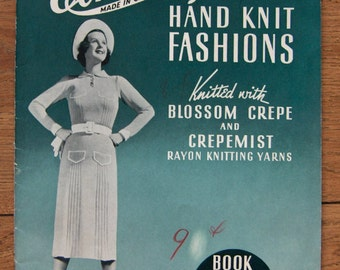 vintage 30s knitting  patterns Corticelli Hand Knit Fashions misses women dresses suits scarves gloves ALLERGY WARNING slight old musty odor